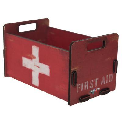 Caja madera chica diseño help rojo