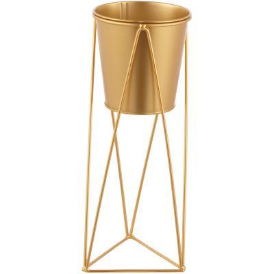 Maceta de metal con pedestal dorado diseño geométrico de 30 cm