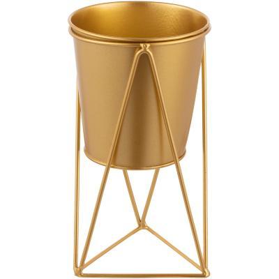 Macetero de metal con pedestal dorado diseño geometrico de 20 cm