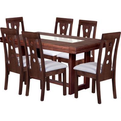 Juego de comedor 6 sillas 160x90 Café/Crudo
