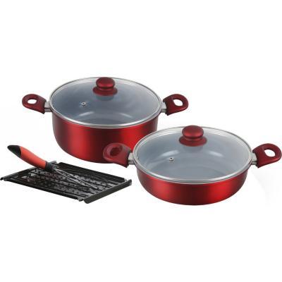 Batería de Cocina 5 Piezas Aluminio Rojo