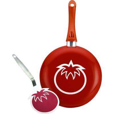 Sartén 24 cm + espatula tomate/rojo