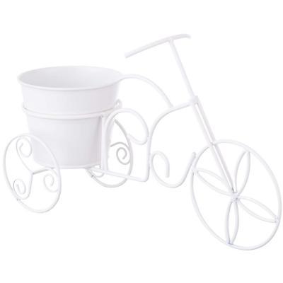 Bicicleta de metal color blanco con base para maceta