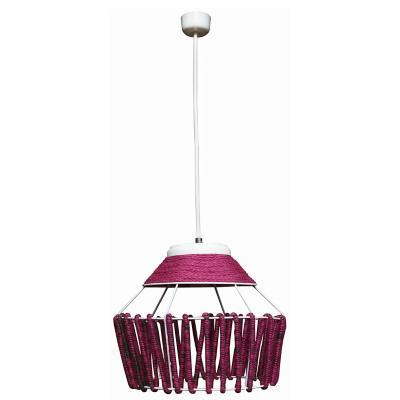 Lámpara colgante fibras naturales Amber Rosado