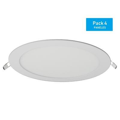 Pack panel LED embutido redondo 18 W  luz cálida - 4 unidades