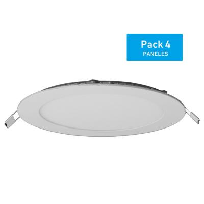 Pack panel LED embutido redondo 12 W luz cálida - 4 unidades