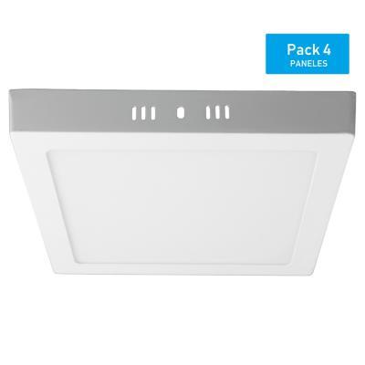 Pack panel LED sobrepuesto cuadrado 18 W luz cálida - 4 unidades