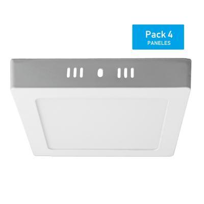 Pack panel LED sobrepuesto cuadrado 12 W luz cálida - 4 unidades