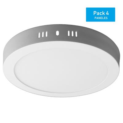 Pack panel LED sobrepuesto redondo 18 W  luz cálida - 4 unidades