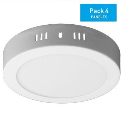 Pack panel LED sobrepuesto redondo 12 W luz cálida - 4 unidades