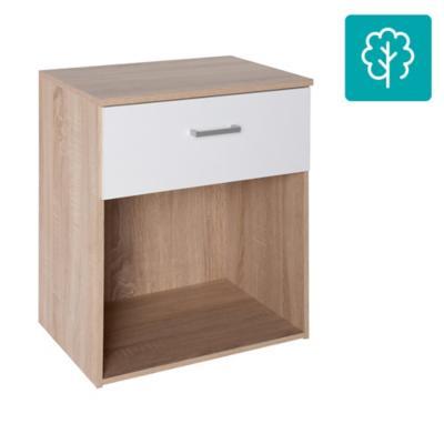 Velador 1 cajón 50x36x60 cm blanco/oak