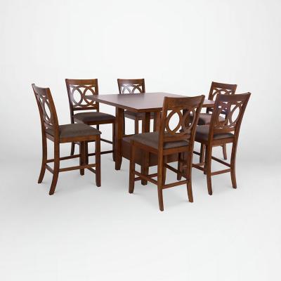 Juego de comedor 6 sillas 120x120 Café