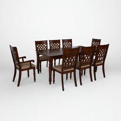 Juego de comedor 6 sillas + 2 sitiales 180x102 Café