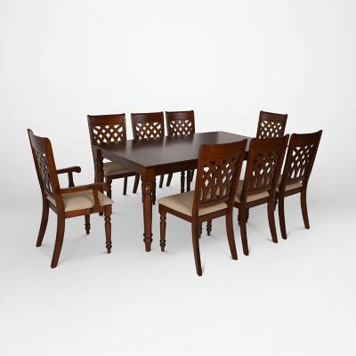 Juego de comedor 6 sillas + 2 sitiales 180x102 Caoba/Arena