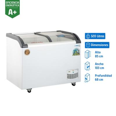 Freezer horizontal 320 litros tapa de vidrio semicurva