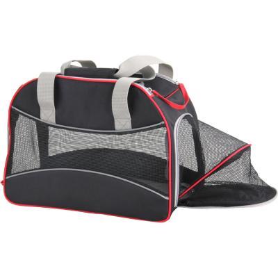 Bolso de transporte 41x22x30 cm tela negro con extensión lateral