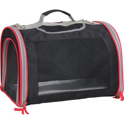 Bolso de transporte 48x31x35 cm tela negro con extensión frontal