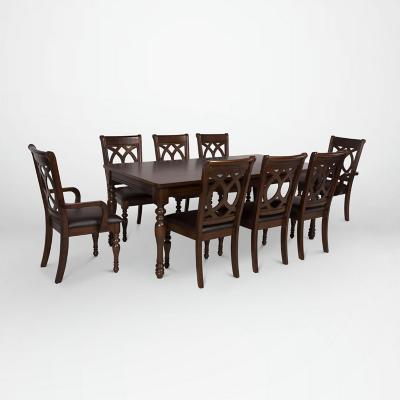 Juego de comedor 6 sillas +  2 sitiales 200x100 Chocolate