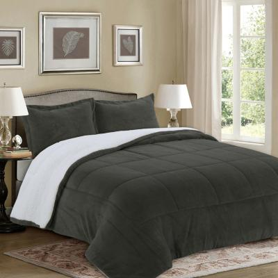 Quilt sherpa liso gris 2 plazas