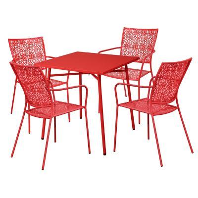 Juego comedor terraza Bellagio rojo 4 personas
