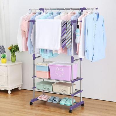 Perchero colgador de ropa doble con 3 repisas