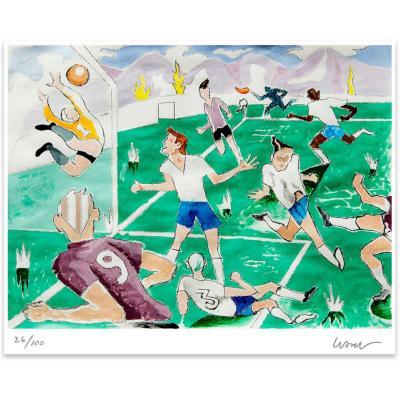 Grabado 50x70 cm Fútbol artista Andrés Gana