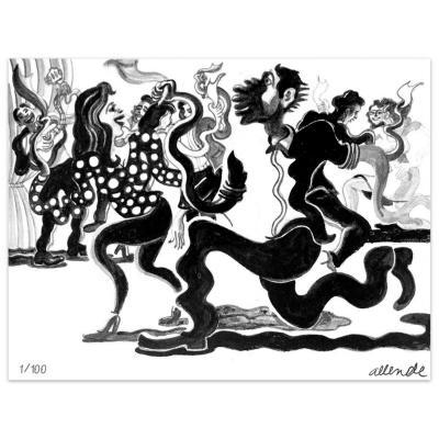 Grabado 50x70 cm Cueca artista Fernando Allende