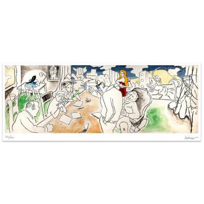 Grabado 54x100 cm Oficina artista Andrés Gana