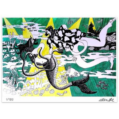 Grabado 50x70 cm Sirena artista Fernando Allende