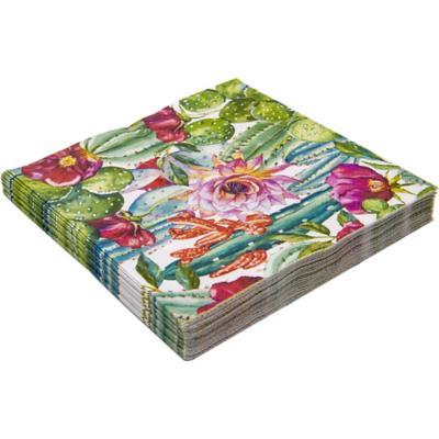 Servilleta de papel 16,5x16,5 cm catus y flor 20 unidades