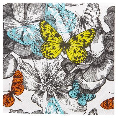 Servilleta de papel 16,5x16,5 cm mariposas 20 unidades