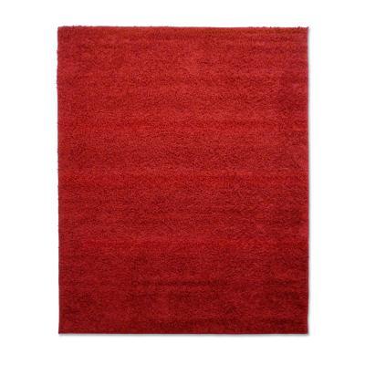 Bajada de camas shaggy lisa 50x100 rojo