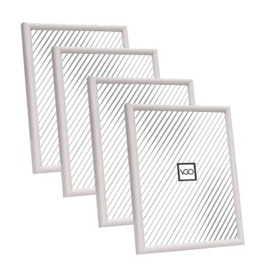 Pack 4 marcos plásticos 10x15 cm blanco