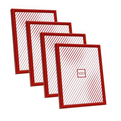 Pack 4 marcos plásticos 10x15 cm rojo