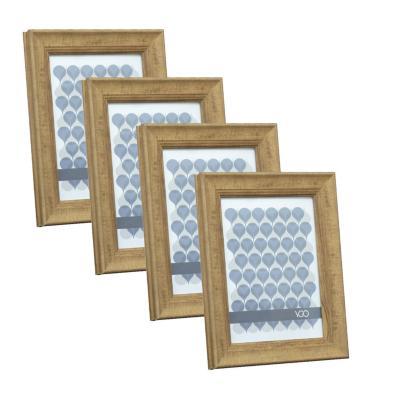 Pack 4 marcos anchos simil madera 10x15 cm café claro