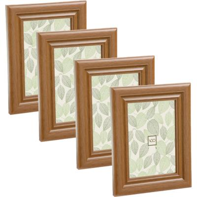Pack 4 marcos simil madera 10x15 cm beige