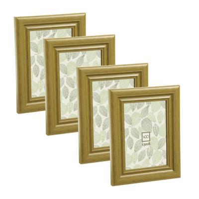 Pack 4 marcos simil madera 10x15 cm café claro