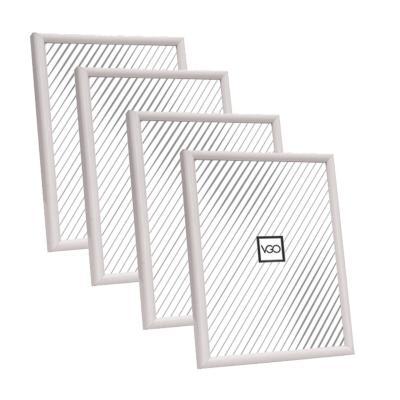 Pack 4 marcos plásticos 15x21 cm blanco