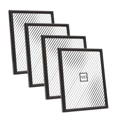 Pack 4 marcos plásticos 13x18 cm negro