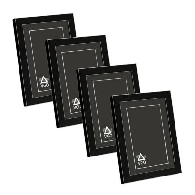 Pack 4 marcos con detalles plateados 10x15 cm negro
