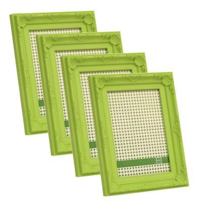 Pack 4 marcos plásticos antique  10x15 cm verde