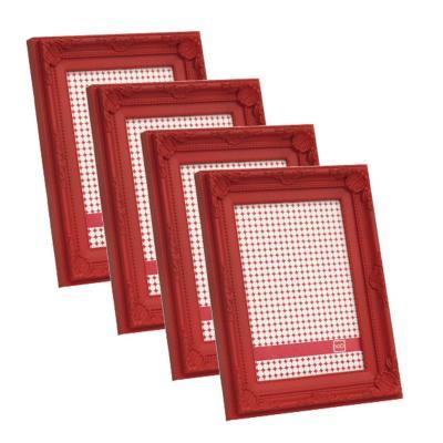 Pack 4 marcos plásticos antique 10x15 cm rojo