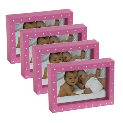Pack 4 marcos box 10x15 cm rosado