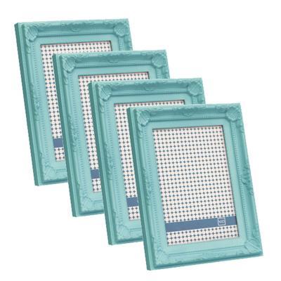 Pack 4 marcos plásticos antique 15x20 cm turquesa