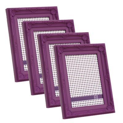 Pack 4 marcos plásticos antique 15x20 cm morado