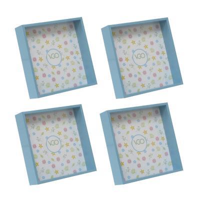 Pack 4 marcos cuadrados 15x15 cm celeste