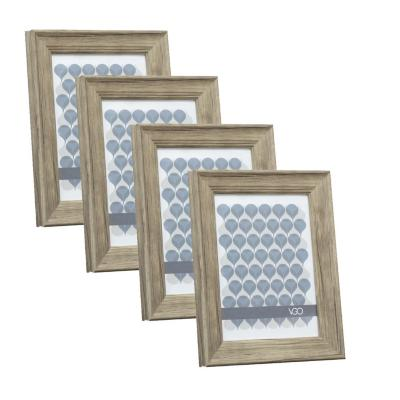 Pack 4 marcos anchos simil madera 13x18 cm beige