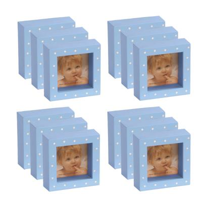 set 12 mini marcos 5x5 cm celeste