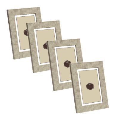 Pack 4 marcos simil ratan 20x25 cm beige