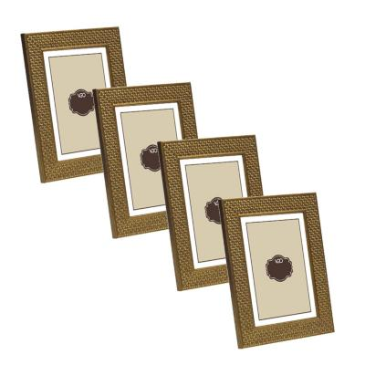 Pack 4 marcos simil ratan 20x25 cm dorado